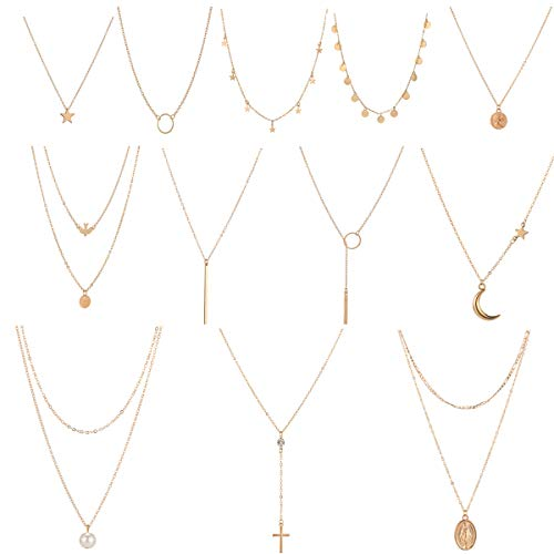 12 Pcs Gold Choker Necklace for Women Girls Handmade Layered Dainty Chain Necklace Set Coin Choker Necklace