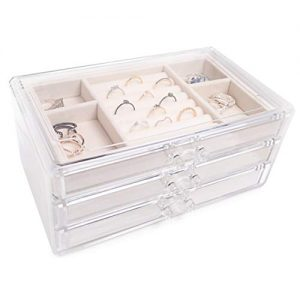 Simple Goods Jewelry Organizer with Drawers for Women | Clear Acrylic Case with Velvet Lining Jewelry Box for Girls | Necklace Earrings Bracelet and Ring Storage Box
