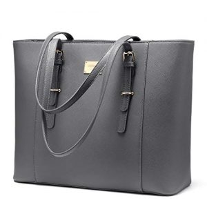 Laptop Bag for Women Large Office Handbags Briefcase Fits Up to 15.6 inch (Updated Version)-Grey