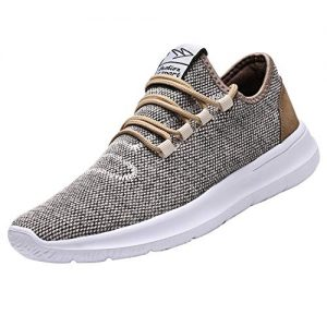 KEEZMZ Mens Running Shoes Fashion Breathable Sneakers Mesh Soft Sole Casual Athletic Lightweight (11, Beige)