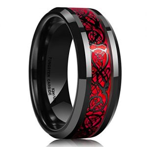 King Will Mens 8mm Red Carbon Fiber Black Celtic Dragon Tungsten Carbide Ring Comfort Fit Wedding Band(9)