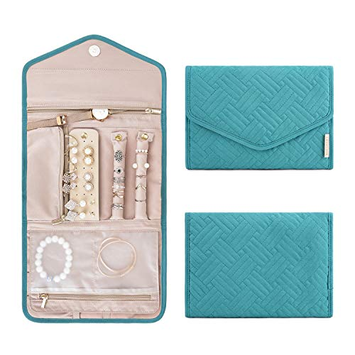 BAGSMART Travel Jewelry Organizer Roll Foldable Jewelry Case for Journey-Rings, Necklaces, Bracelets, Earrings, Teal