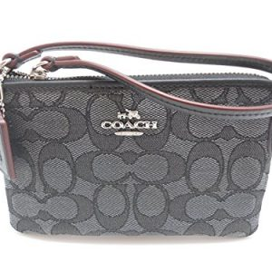 Coach C Signature Logo Wristlet Hand Bag Purse Outline Smoke Gray Black, Small